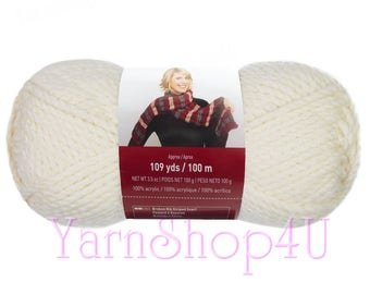 OFF WHITE. Charisma Loops and Threads Yarn. This Bulky Solid Off White acrylic Yarn is a Antique White hue. It has just a touch of yellow.