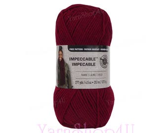 CLARET Impeccable Yarn. Burgundy color Loops & Threads Solid. 100% Dark Red Acrylic yarn. Great for hats, afghans, scarves and more. 4.5oz