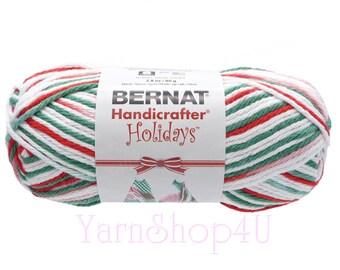 2.8oz MISTLETOE OMBRE. Bernat Handicrafter Holidays Yarn. White Red Green Christmas 100% Cotton Yarn. 2.8oz Bernat Mistletoe Cotton Yarn.