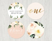 Floral ONE Cupcake Toppers | 2x2 | Customized Digital File