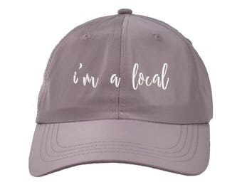 I'M A LOCAL Satin Dad Hat, Low Profile Embroidered Cursive Baseball Cap 90s Style Hat, Lilac