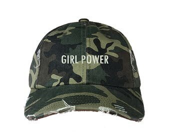 """GIRL POWER Distressed Dad Hat, Embroidered """"Girl Power"""" Feminism Hat, Low Profile Girl Gang Feminist Baseball Cap Hat, Camo Green"""