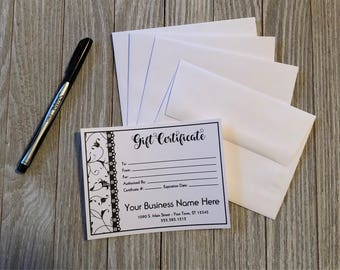 Black and White Side Swirls Design Gift Certificates with Your Business Name & Info + Envelopes