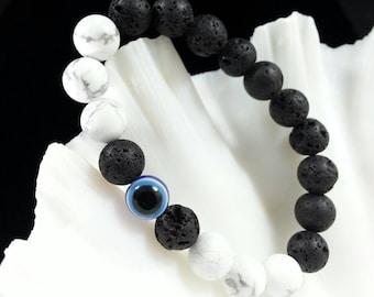 Evil Eye Bracelet -Lava & Howlite Bracelet, 8mm, Women's Lava Bracelet, Men's Lava Bracelet, Howlite Bracelet