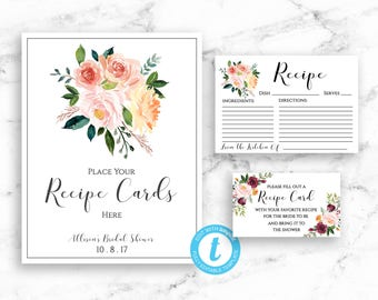 Bridal Shower Recipe Card Set - Recipe Card - Shower Sign - Invitation Card Insert- Templett Editable Instant Download - PDF or JPEG downoad