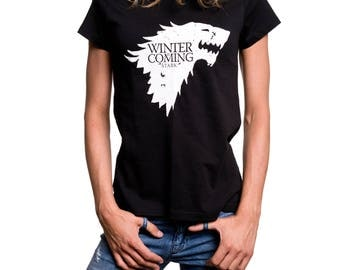 Winter is Coming Stark Womens Tee Shirt Graphic Desing Wolf Game of Thrones Gifts black S/M/L