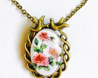 vintage necklace, Chain necklace, pendant necklace, floral rose design oval necklace, antique gold necklace, boho chain necklace.