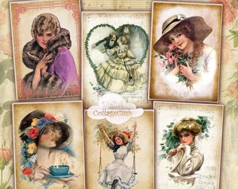 80 % off Graphics SaLe Harrison Fisher Shabby Chic Vintage Lady Digital Jewelry Holder ATC Cards Digital Collage Sheet Digital Greeting Card
