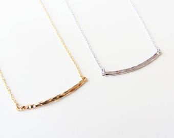 Thin hammered bar necklace, bar necklace, curved bar necklace, delicate bar necklace