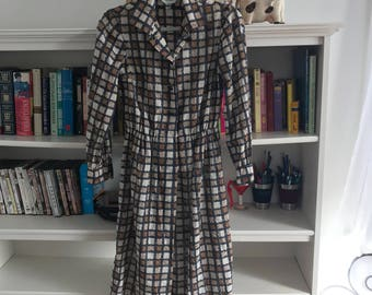 Vtg 70's/ 80's McMuller Neutral Checkered Colared Dress with Buttons size S/M