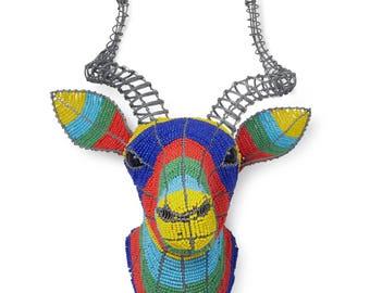 Colourful Beaded Kudu Head