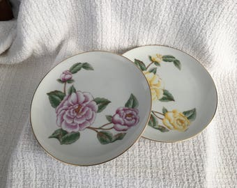 Takahashi Floral Porcelain Plate, Floral Luncheon Plate, Yellow Roses, Pink Roses, 7.5 inch Plate, Gold Trim