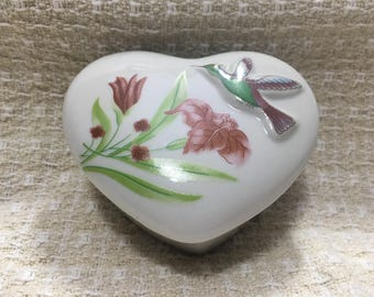 Heart Shaped Porcelain Trinket Box, Embossed Bird with Flowers, Lidded Heart Box, Taiwan
