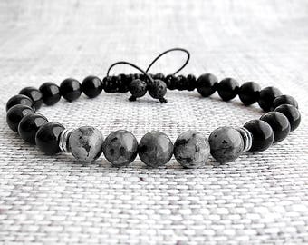 Mens bracelet Obsidian bracelets Labradorite bracelet Macrame bracelets Hipster bracelets Obsidian jewellery Adjustable Bracelets for him
