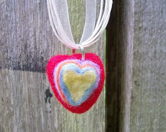 Heart Pendant, Handmade Pendant, Felted Jewelry, Simple Necklace, FeltWithAHeart