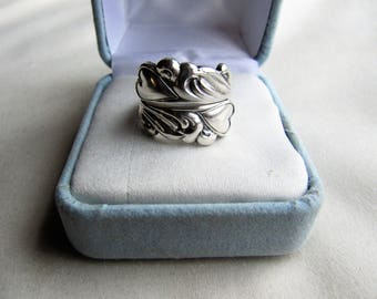 Towle Sterling Silver Art Nouveau Style Spiral Adjustable Romantic Spoon Ring-Hearts