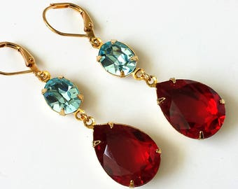 Red Double Drop Earrings Swarovski Drop Earrings Red and Aquamarine Gold Drop Earrings Wedding Bridesmaids Jewelry Crystal Jewelry