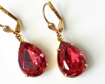 Rose Teardrop Earrings Pink Rhinestone Earrings Bridesmaid Jewelry Gold Drop Earrings Vintage Pink Drop Earrings Rose Earrings Pink Earrings