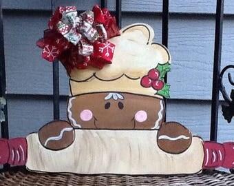 Gingerbread door sign, gingerbread door hanger, gingerbread sign, christmas door sign, christmas door hanger, bakers door hanger, holiday