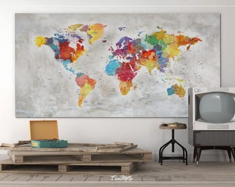 World map watercolor world map push pin world map extra push pin world map extra large world map canvas print push pin travel gumiabroncs Images