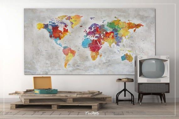 Push pin world map extra large world map canvas print push like this item gumiabroncs Images