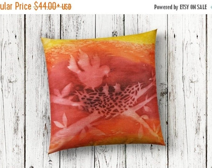 SALE Birdnest Pillow Cover 18x18 - Watercolor Silk Pillow-Spring Decor-Shabby Chic Decor-Cottage Decor-Gift
