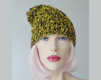 Yellow/Brown Hand Knitted Vintage Hat // One Size