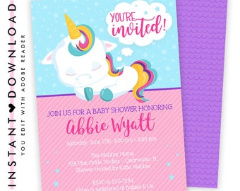 Unicorn Invitations, Unicorn Invitation Download, Unicorn Birthday Invitation, Unicorn 1st Birthday, Unicorn Baby Shower | 638
