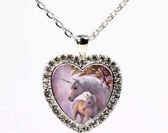 Unicorn Silver and Rhinestone  Heart Necklace  - I Love Unicorns - Baby Unicorn - Fantasy Pendant - Sparkle