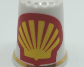 Shell gas station symbol on a fine bone china thimble