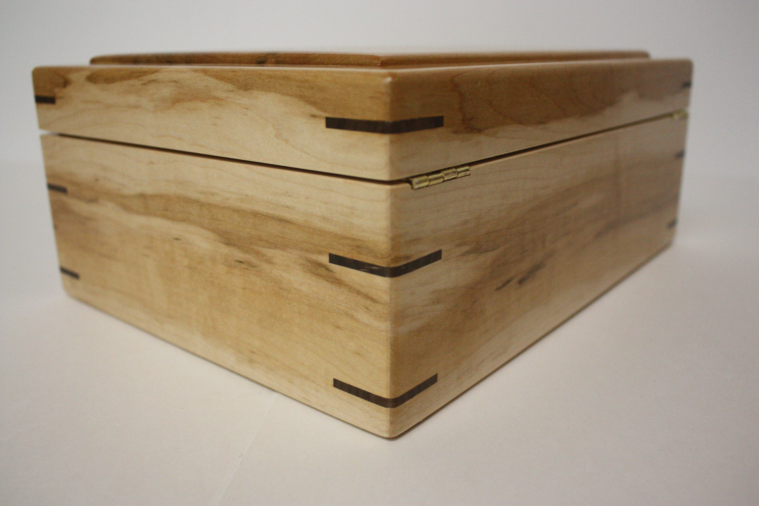 Large Maple Wood Box with Hinged Lid