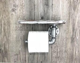 Industrial pipe toilet paper holder, whitewash toilet paper roll, shabby chic decor, white furniture, coastal beach bathroom decor, TP roll