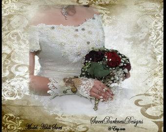 Steampunk Bridal Cuff Victorian Bridal Cuff Vintage Wedding Cuff Ivory Lace Wrist Photo Locket