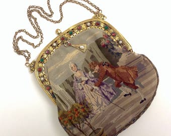 Micro Petit Point Handbag, Alexander and Oviatt Los Angeles, French Tapestry Jewel Purse, Embroidery Needlework Evening Bag, Courting Couple