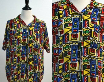 SUMMER SALE 1980s Funky Print Oversized Blouse / Vintage 80s SHAPELY Shirt / Abstract Pattern Top / Geometric Design / Multi-Color / One Siz