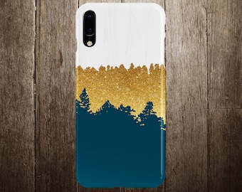 Geometric Gold Glitter Navy Blue Wood Phone Case, iPhone X, iPhone X Plus, Tough iPhone Case, Galaxy s8, Samsung Galaxy Case, CASE ESCAPE