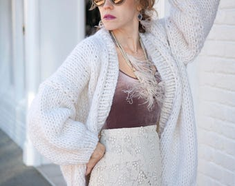 White Knit Cardigan - Oversized Knitted Cardigan - White Sweater - Chunky Knit - Loose fit - Open Style Sweater - LILU Cardigan