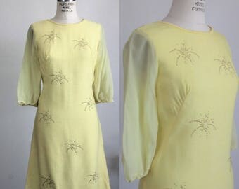 CLEARANCE: Vintage 1960s Yellow Mod Dress / 60s Sheath Dress With Chiffon Sleeve and Starburst Beads / Vintage Summer Dress