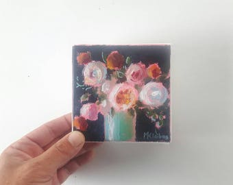 original acrylic painting, floral painting, flower painting, tiny painting, small painting, acrylics on canvas, boho art