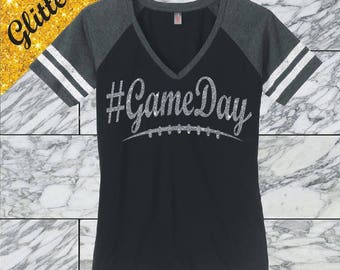 Glitter Football Mom Shirt Game Day Shirt Game Day Football Mom Glitter Football Shirt Game Day Glitter Shirt #Gameday Shirt Custom DM476