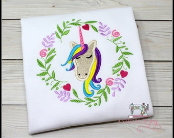 Girl's Unicorn Bodysuit or Shirt, Girl's Circle Wreath Unicorn Embroidered Applique Shirt or Bodysuit