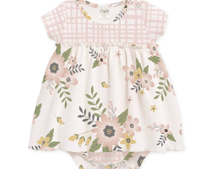 Baby Girl Easter Outfit, Baby Onesie Bodysuit Dress, Newborn Girl Outfit, Baby Girl Skirted Romper Pink Floral, Infant Skirted Romper
