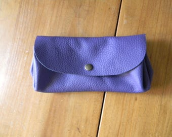 Hand made purple leather wallet