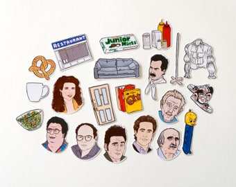 Seinfeld Stickers & Magnets, vinyl stickers, fridge magnets, larry david, george costanza, laptop stickers