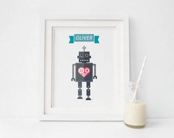 A4 Robot Illustration Print - Capitaine du Coeur