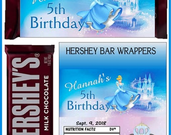 12 CINDERELLA Birthday Party Favors Candy Bar Hershey Bar Wrappers - We Print & Ship