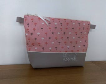 Waterproof personalized toiletry bag cotton imprimerose tulips