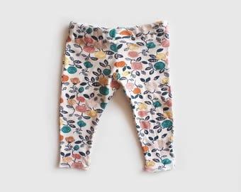 vintage rose baby leggings - handmade