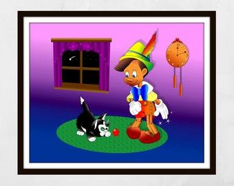 Pinocchio print. Pinocchio wall art. Nursery wall art, Nursery prints, nursery decor, Kids wall art, children's wall art, Disney print