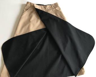 BLACK KHAKI Reversible Wrap Skirt A-Line Knee Length Size Extra Small Vintage Cotton Skirt